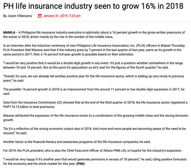 PH Life Insurance Industry seen to grow 16% in 2018